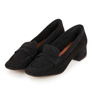 Topshop 'Kave' Block Heel Loafer in Black